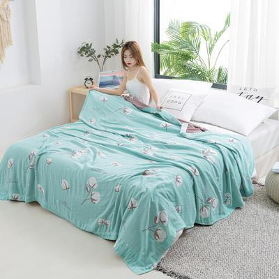2020新款竹纤维加棉盖毯 150*200cm 棉花朵朵浅蓝