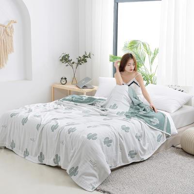 2020新款竹纤维加棉盖毯 100*150cm 仙人掌白