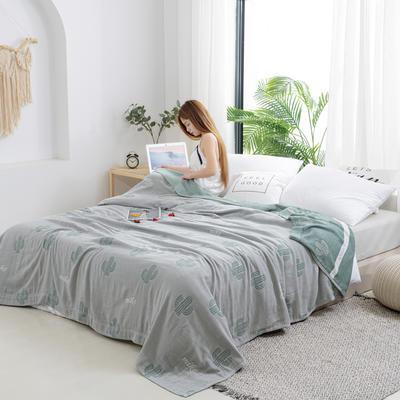 2020新款竹纤维加棉盖毯 100*150cm 仙人掌绿