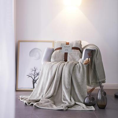 2019新款超柔高克重纯色毛毯 1.0*1.5m 2 白桦灰