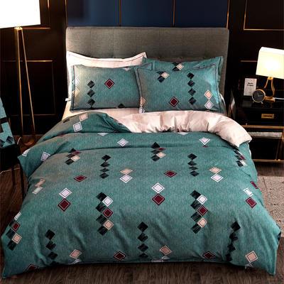 2019新款微商实拍图 跨境外贸款柔锦棉全活性磨毛四件套 2.0m(6.6英尺)床 多彩时代
