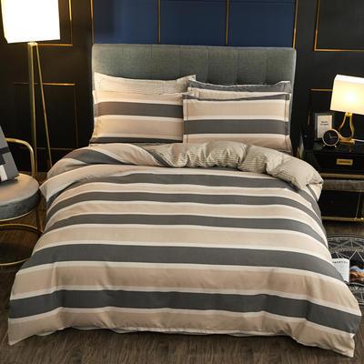 2019新款微商实拍图 跨境外贸款柔锦棉全活性磨毛四件套 1.2m(4英尺)床 轻松条纹