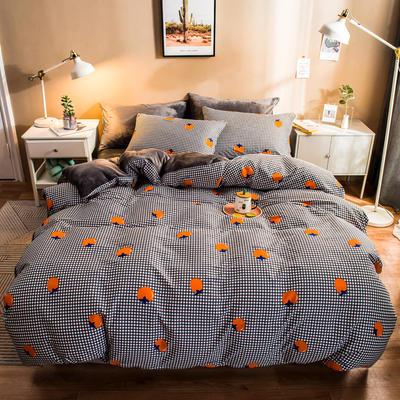 2019纯棉+水晶绒四件套 1.2m床单款三件套 格子橙桔