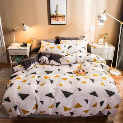 2019纯棉+水晶绒四件套 1.2m床单款三件套 黄色三角