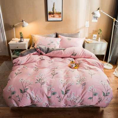 2019纯棉+水晶绒四件套 1.2m床单款三件套 锦绣花期粉