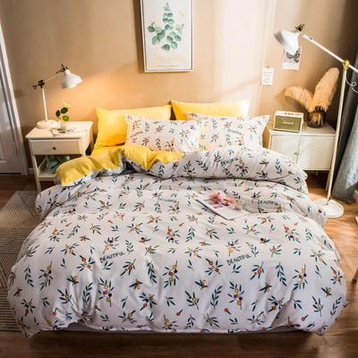 2019纯棉+水晶绒四件套 1.2m床单款三件套 落落繁华
