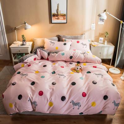 2019纯棉+水晶绒四件套 1.2m床单款三件套 梦幻斑马