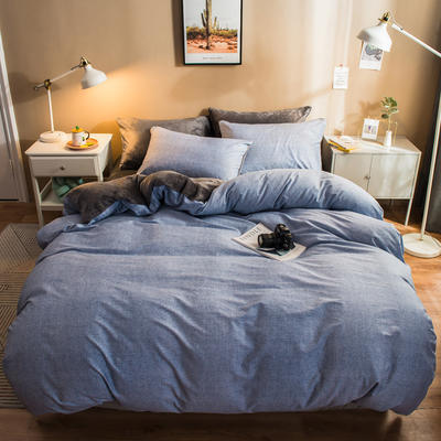 2019纯棉+水晶绒四件套 1.2m床单款三件套 墨深灰