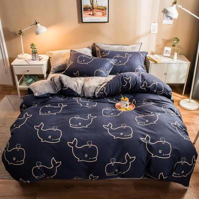 2019纯棉+水晶绒四件套 1.2m床单款三件套 喷水蓝鲸