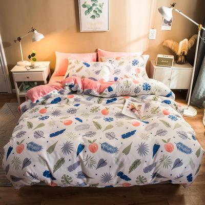 2019纯棉+水晶绒四件套 1.2m床单款三件套 阡陌红尘