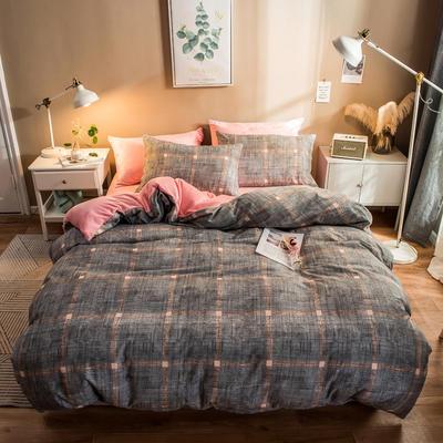 2019纯棉+水晶绒四件套 1.2m床单款三件套 思域空间桔