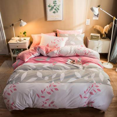 2019纯棉+水晶绒四件套 1.2m床单款三件套 叶语浪漫