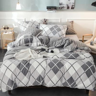2019无印风牛奶绒四件套 1.5m床单款四件套 摩登款-灰色菱形格