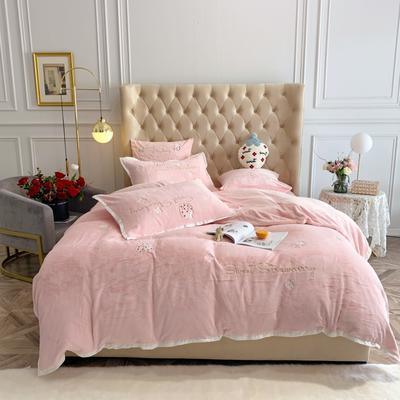 2019新款绒 绣花四件套 1.5m(5英尺)床单款 草莓 纯粉