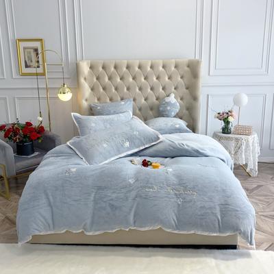 2019新款绒 绣花四件套 1.5m(5英尺)床单款 草莓 纯蓝