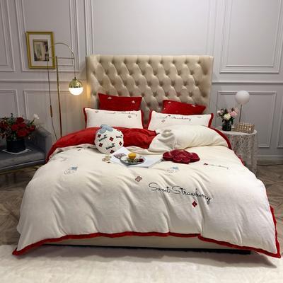 2019新款绒 绣花四件套 1.5m(5英尺)床单款 草莓 红白