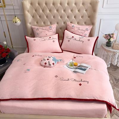 2019新款绒 绣花四件套 1.5m(5英尺)床单款 草莓 红粉