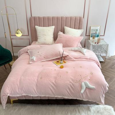 2019新款绒 绣花四件套 1.5m(5英尺)床单款 么么哒 粉