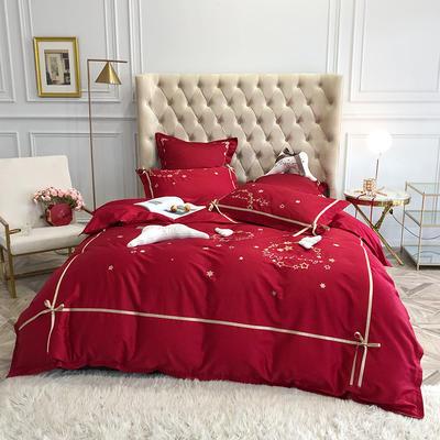 2019新款秋冬60贡缎四件套-天使之吻 1.5m(5英尺)床单款 天使之吻 红