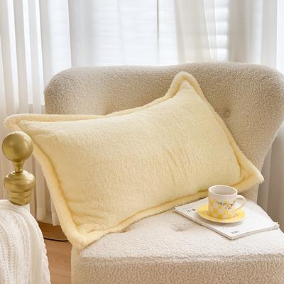 2020新款双面泰迪绒(慕斯系列)—单枕套 48*74cm/对 奶黄色