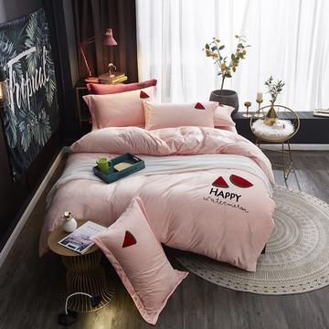 韩式毛巾绣花水晶绒公主风四件套冬季纯色加厚保暖法莱绒被套床单套件