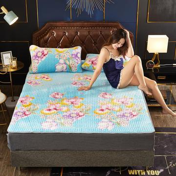 2019新款保暖金貂绒乳胶床垫三件套牛奶绒床垫 防滑床褥可机洗褥子冬季保暖床护垫爬爬垫
