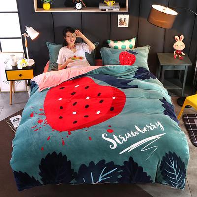 2019新款大版法兰绒四件套19色 1.5m床 草莓