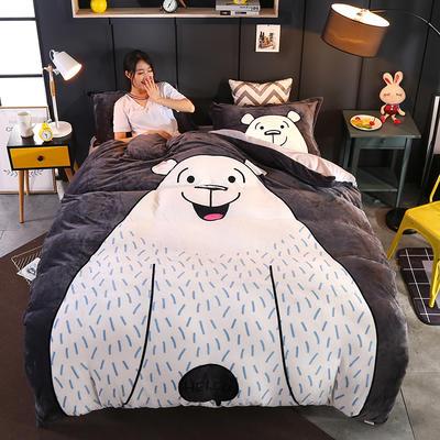 2019新款大版法兰绒四件套19色 1.2m床 大白熊