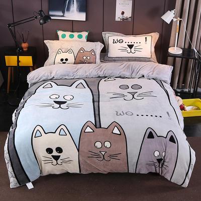 2019新款大版法兰绒四件套19色 1.5m床 五只小猫