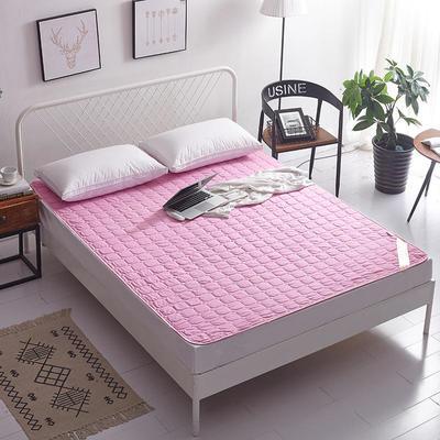 2019新款纯色可水洗可折叠薄款磨毛床垫 150*200 粉色