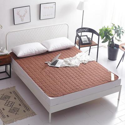 2019新款纯色可水洗可折叠薄款磨毛床垫 180*200 咖啡