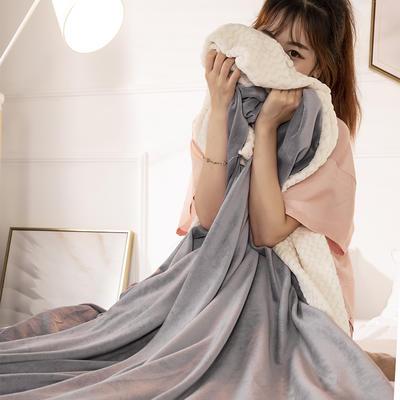 2019新款加厚牛奶绒+贝贝绒复合毯被套毛毯盖毯 180x220cm带拉链被套款 高雅灰