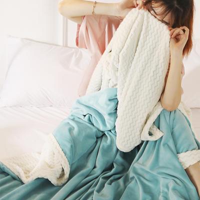 2019新款加厚牛奶绒+贝贝绒复合毯被套毛毯盖毯 150*200cm带拉链被套款 湖绿