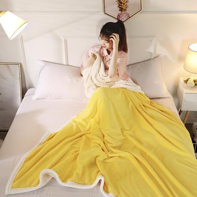 2019新款加厚牛奶绒+贝贝绒复合毯被套毛毯盖毯 150*200cm带拉链被套款 柠檬黄