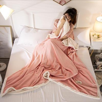 2019新款加厚牛奶绒+贝贝绒复合毯被套毛毯盖毯 150*200cm带拉链被套款 玉色