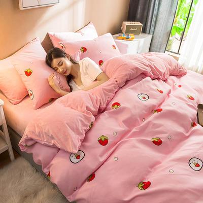 2019新款磨毛水晶绒四件套 1.5m-1.8m床单款 草莓甜心