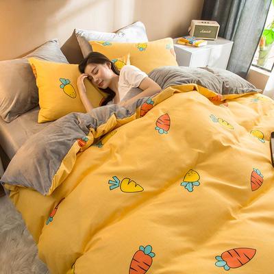 2019新款磨毛水晶绒 1.2m床单款三件套 胡萝贝(黄)