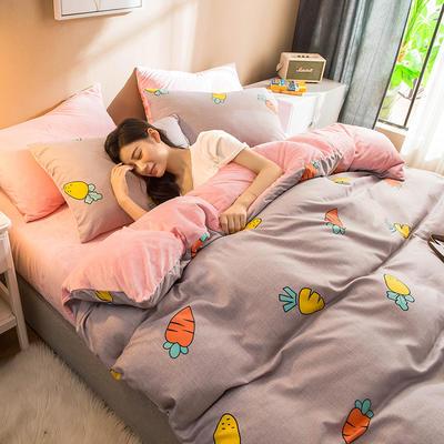 2019新款磨毛水晶绒 1.5m-1.8m床单款 胡萝贝(灰)
