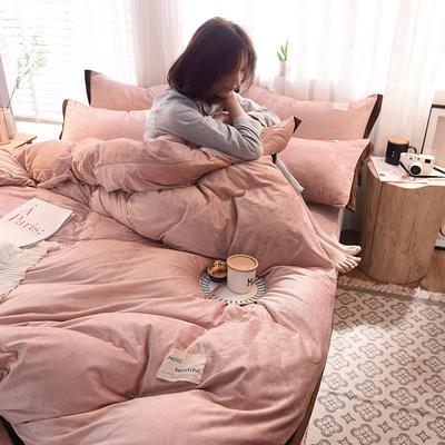 2019新款水晶绒宽边四件套 1.2m床单款三件套 爱恋-豆沙