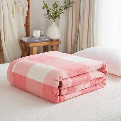 2019新款-可水洗里外全棉棉花被空调被纯棉夏被 单/枕套 粉白大格