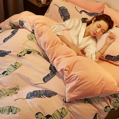 2019新款-A棉B绒水晶绒四件套 床单款1.2m(4英尺)床 彩叶