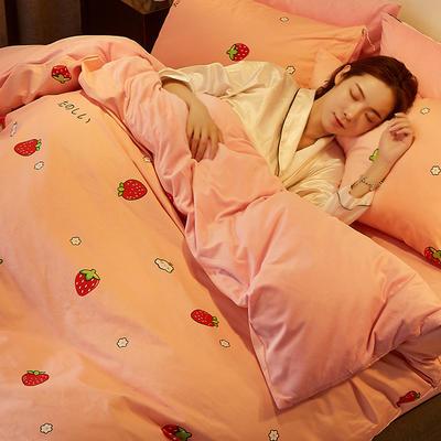 2019新款-A棉B绒水晶绒四件套 床单款1.2m(4英尺)床 草莓蜜语