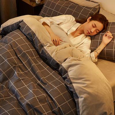 2019新款-A棉B绒水晶绒四件套 床单款1.2m(4英尺)床 黑格