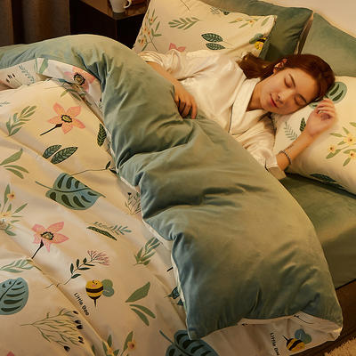 2019新款-A棉B绒水晶绒四件套 床单款1.2m(4英尺)床 花语