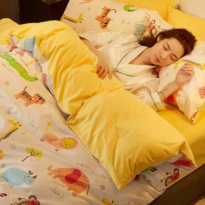 2019新款-A棉B绒水晶绒四件套 床单款1.2m(4英尺)床 欢乐动物园