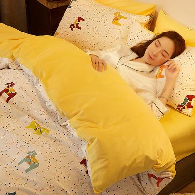 2019新款-A棉B绒水晶绒四件套 床单款1.2m(4英尺)床 欢乐小马