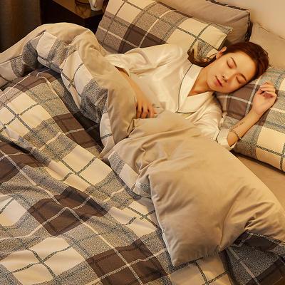 2019新款-A棉B绒水晶绒四件套 床单款1.2m(4英尺)床 灰白格