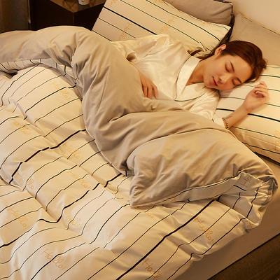 2019新款-A棉B绒水晶绒四件套 床单款1.2m(4英尺)床 亮金条纹