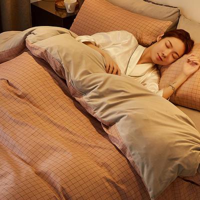 2019新款-A棉B绒水晶绒四件套 床单款1.2m(4英尺)床 蜜粉格