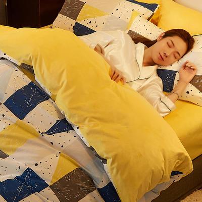 2019新款-A棉B绒水晶绒四件套 床单款1.2m(4英尺)床 色彩元素